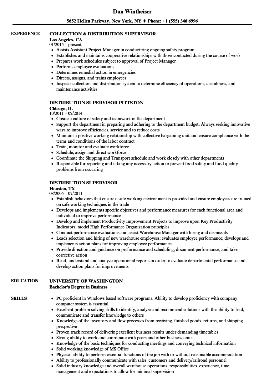 Distribution center resume