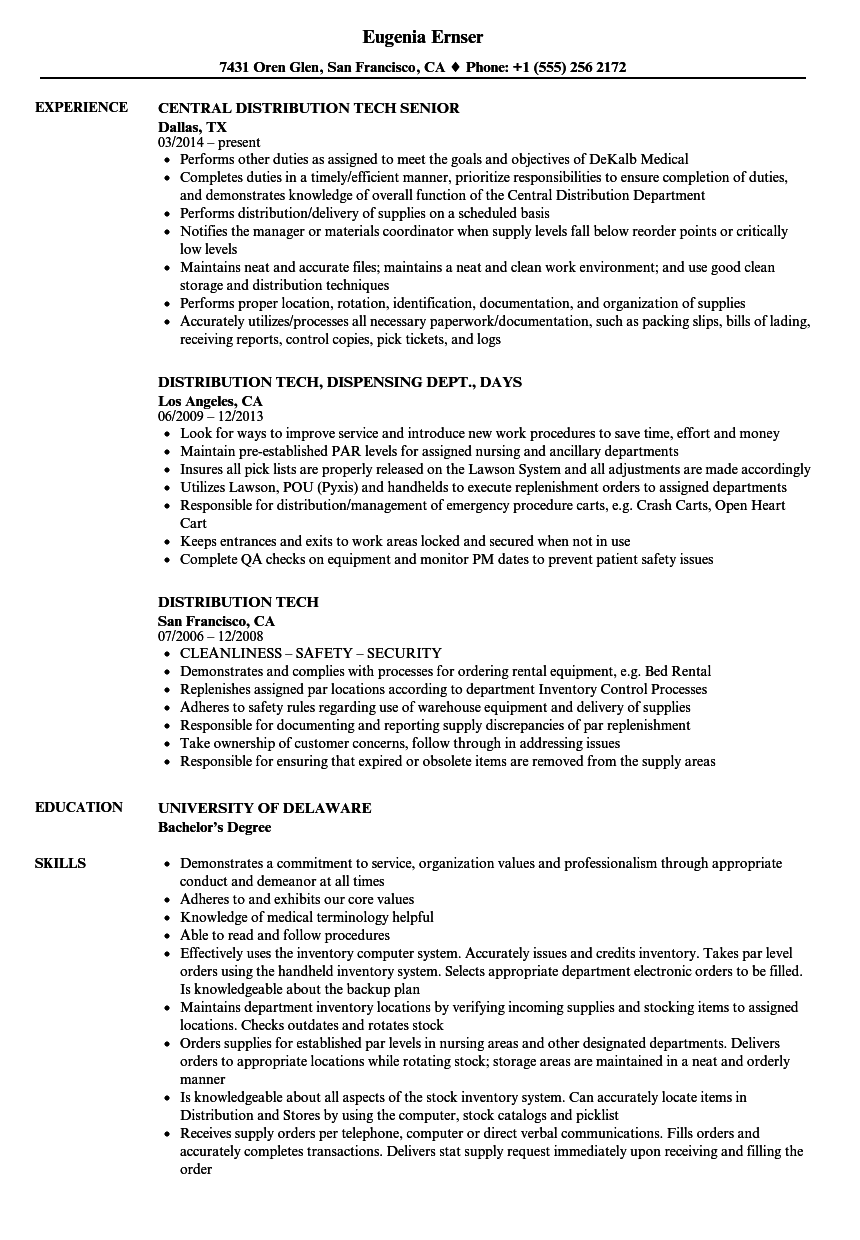 distribution tech resume samples