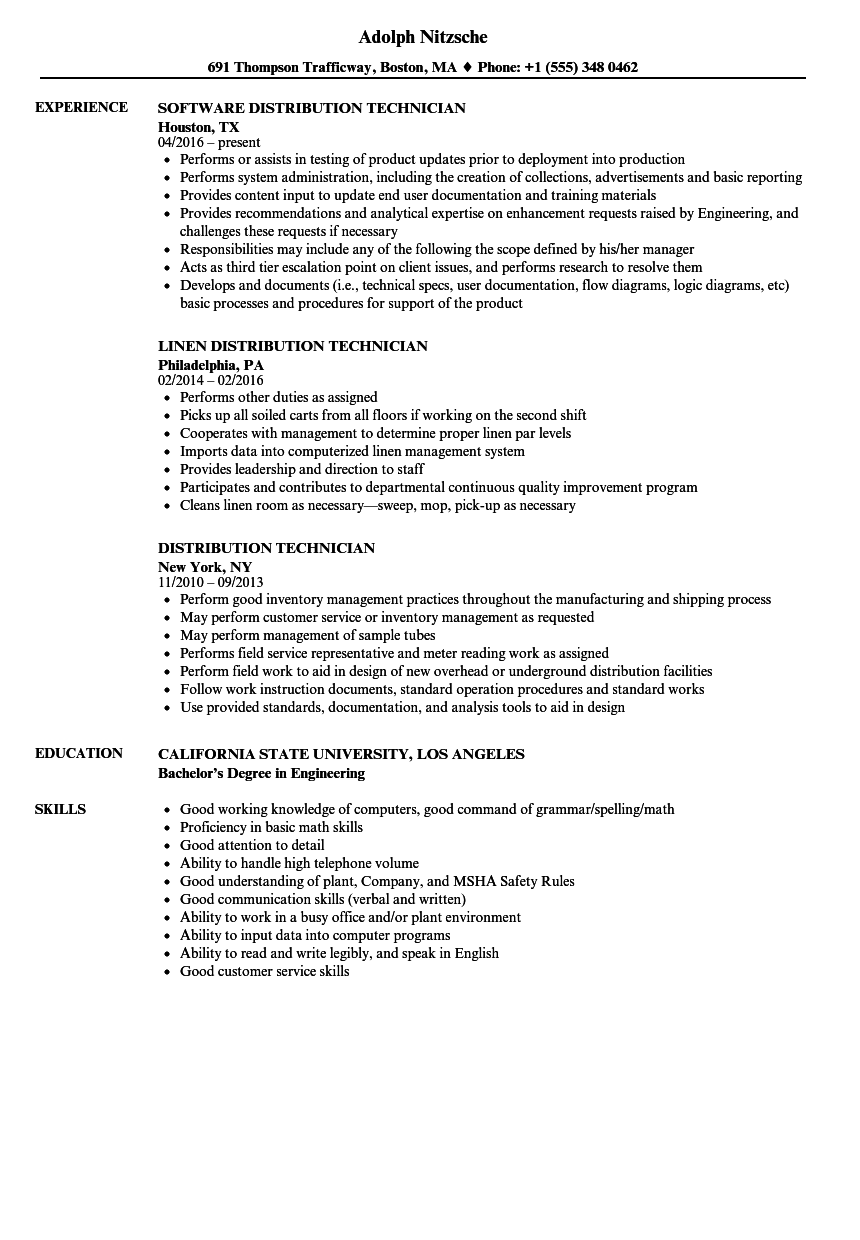 Distribution Technician Resume Samples | Velvet Jobs