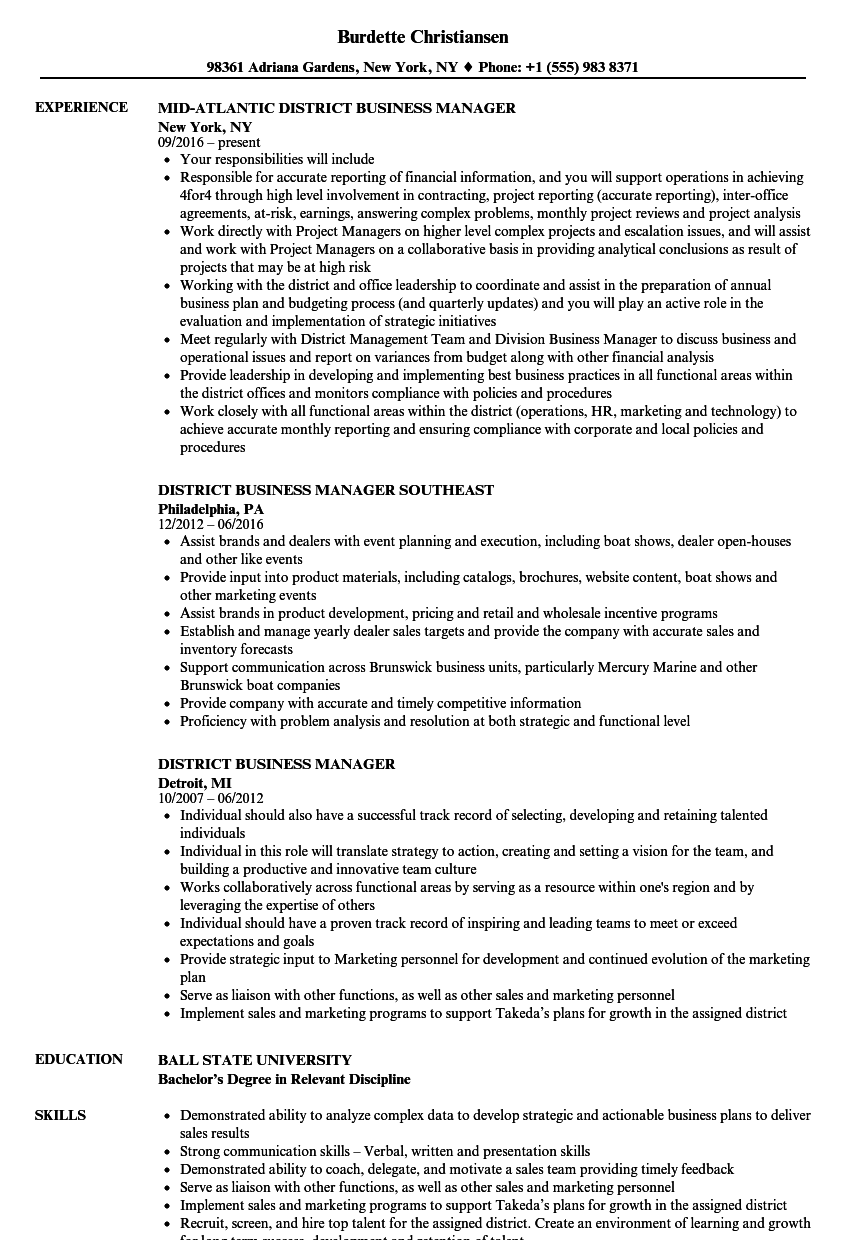 district business manager resume samples