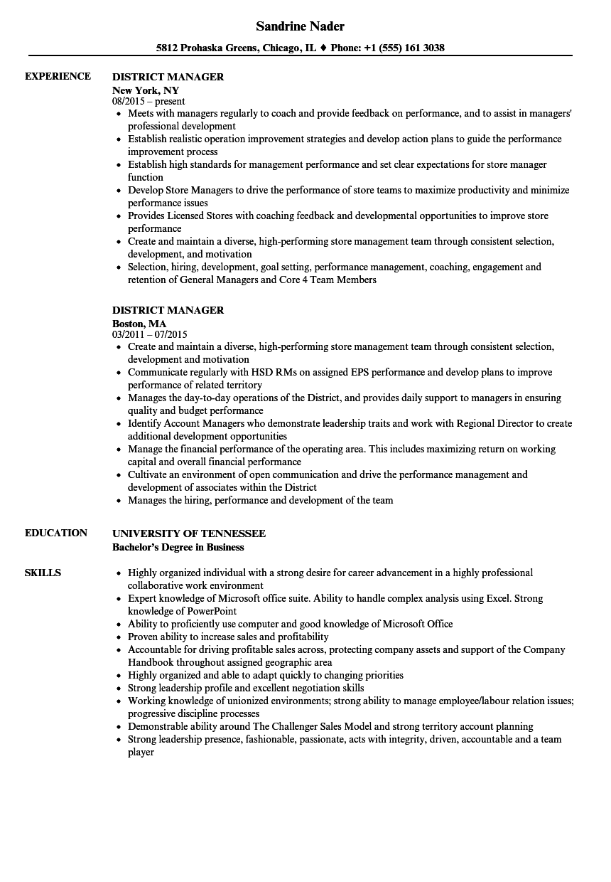 District Manager Resume Samples | Velvet Jobs