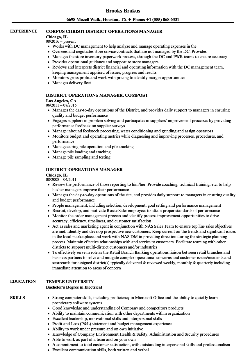 District Operations Manager Resume Samples Velvet Jobs