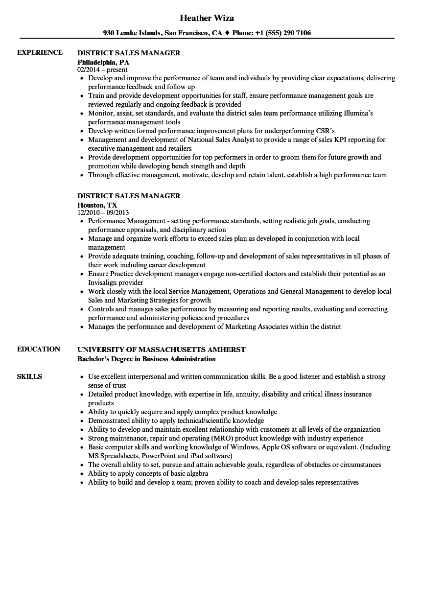 District Sales Manager Resume Samples | Velvet Jobs