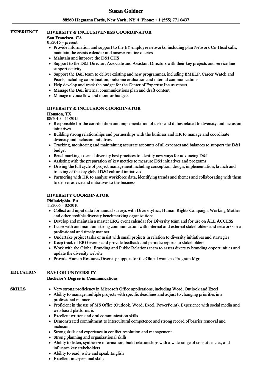 Diversity Coordinator Resume Samples | Velvet Jobs
