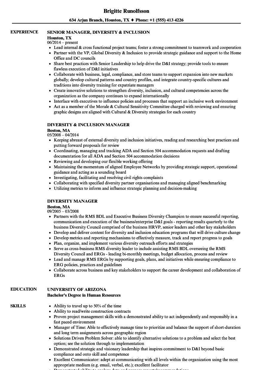 Diversity Manager Resume Samples | Velvet Jobs