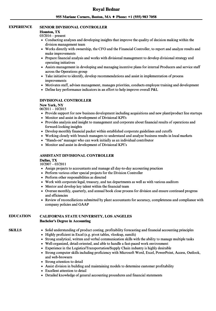 ... Divisional Controller Resume Sample As Image File