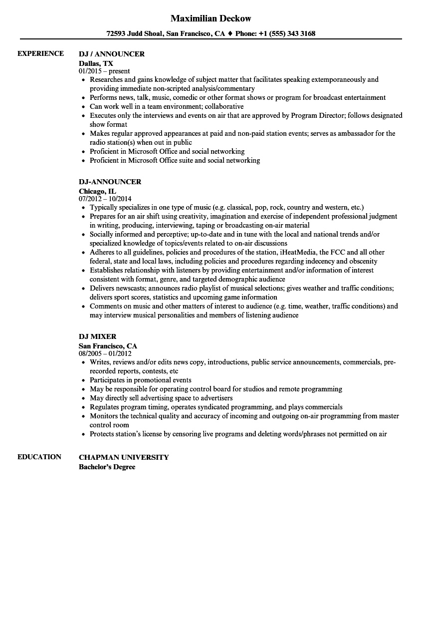 High Quality Download Dj Resume Sample As Image File On Dj Resume