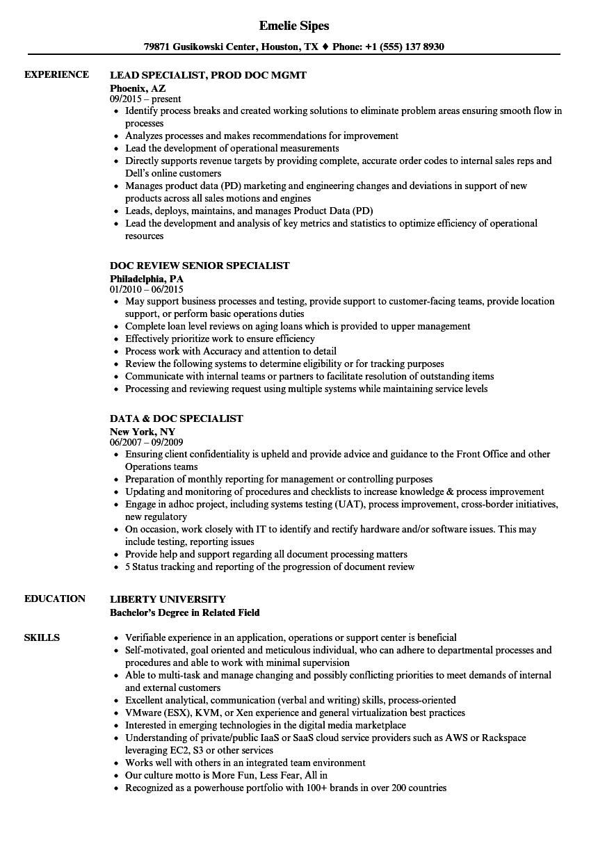 doc specialist resume samples