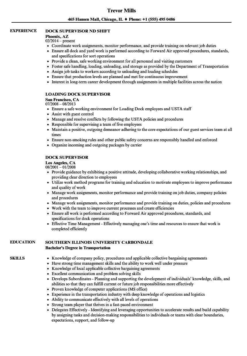 Download Dock Supervisor Resume Sample As Image File
