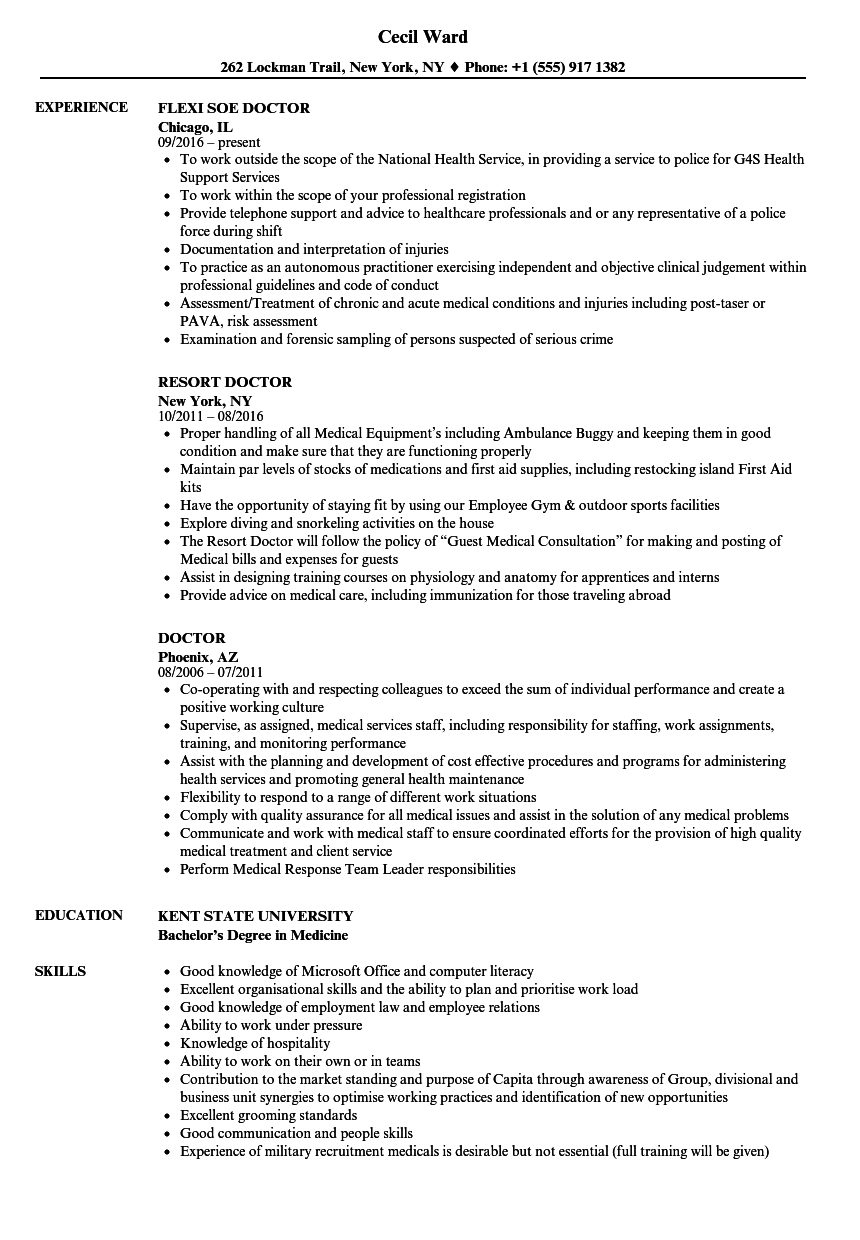 Doctor Resume Samples | Velvet Jobs
