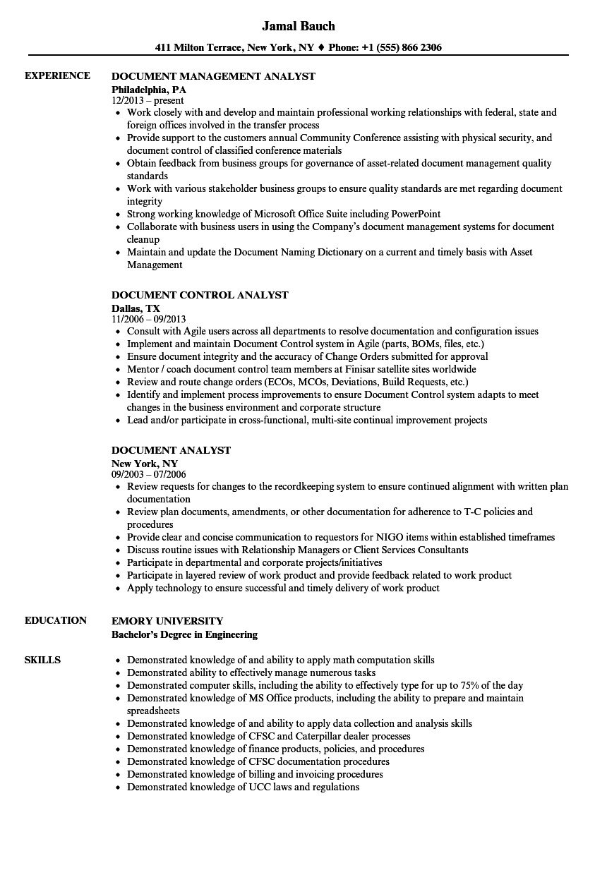 Document Analyst Resume Samples | Velvet Jobs