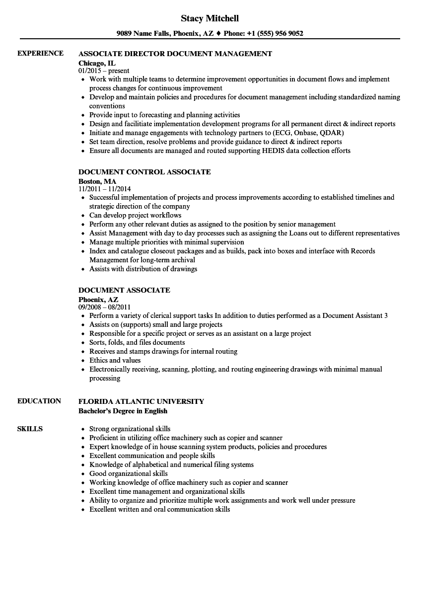 document associate resume samples