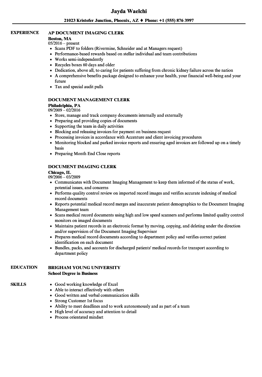 Document Clerk Resume Samples | Velvet Jobs