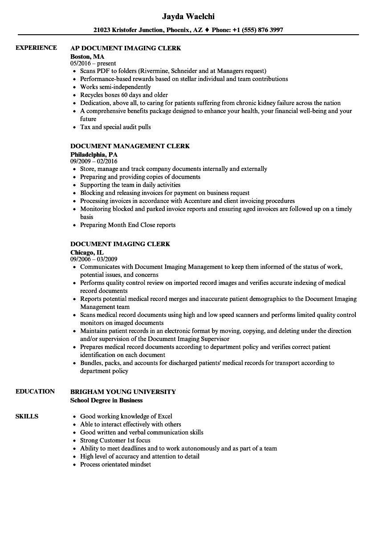 Document Clerk Resume Samples Velvet Jobs