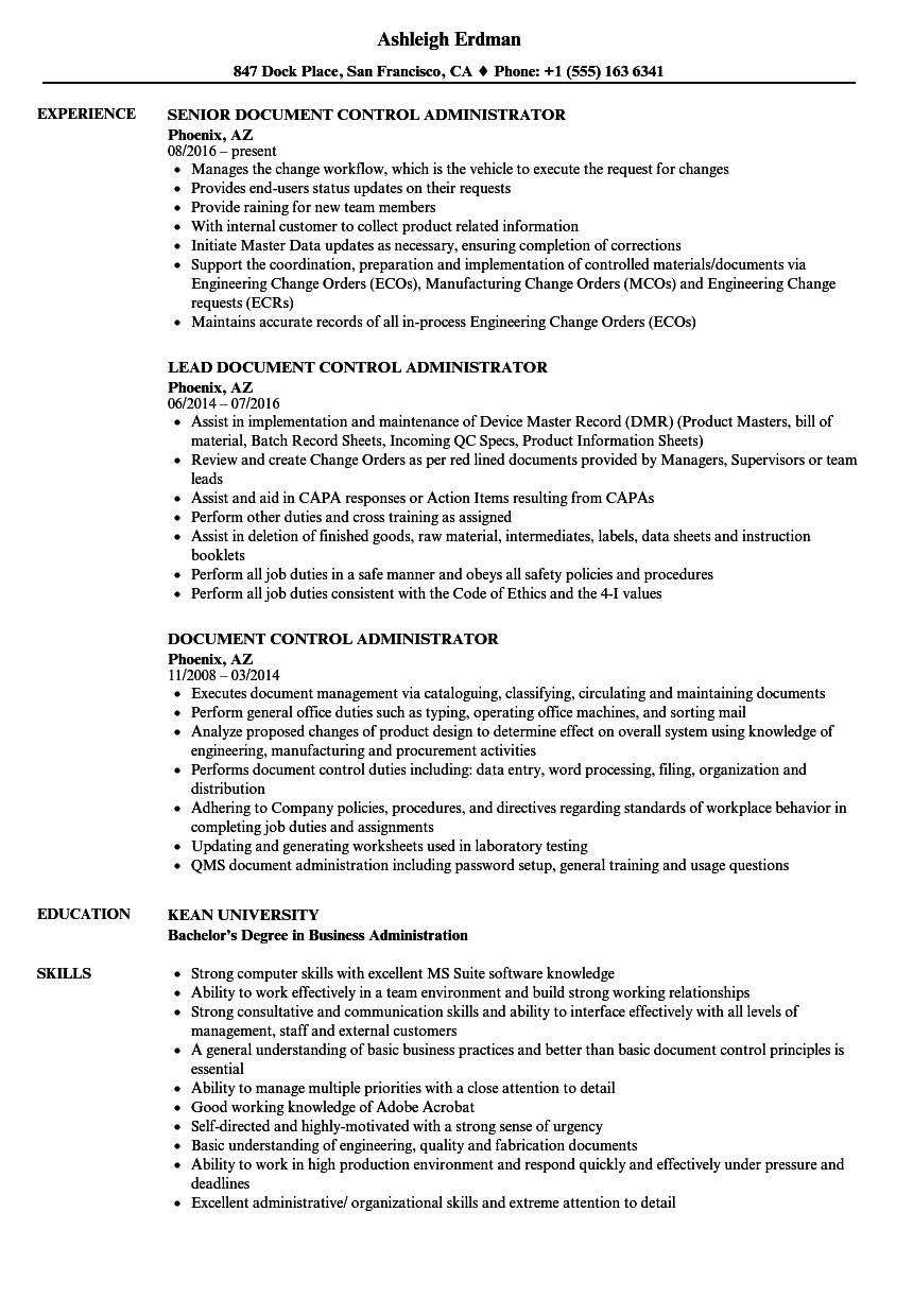 Download Document Control Administrator Resume Sample As Image File