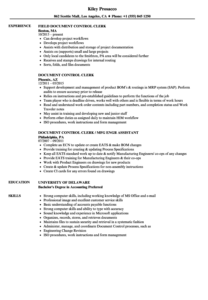 Document Control Clerk Resume Samples | Velvet Jobs