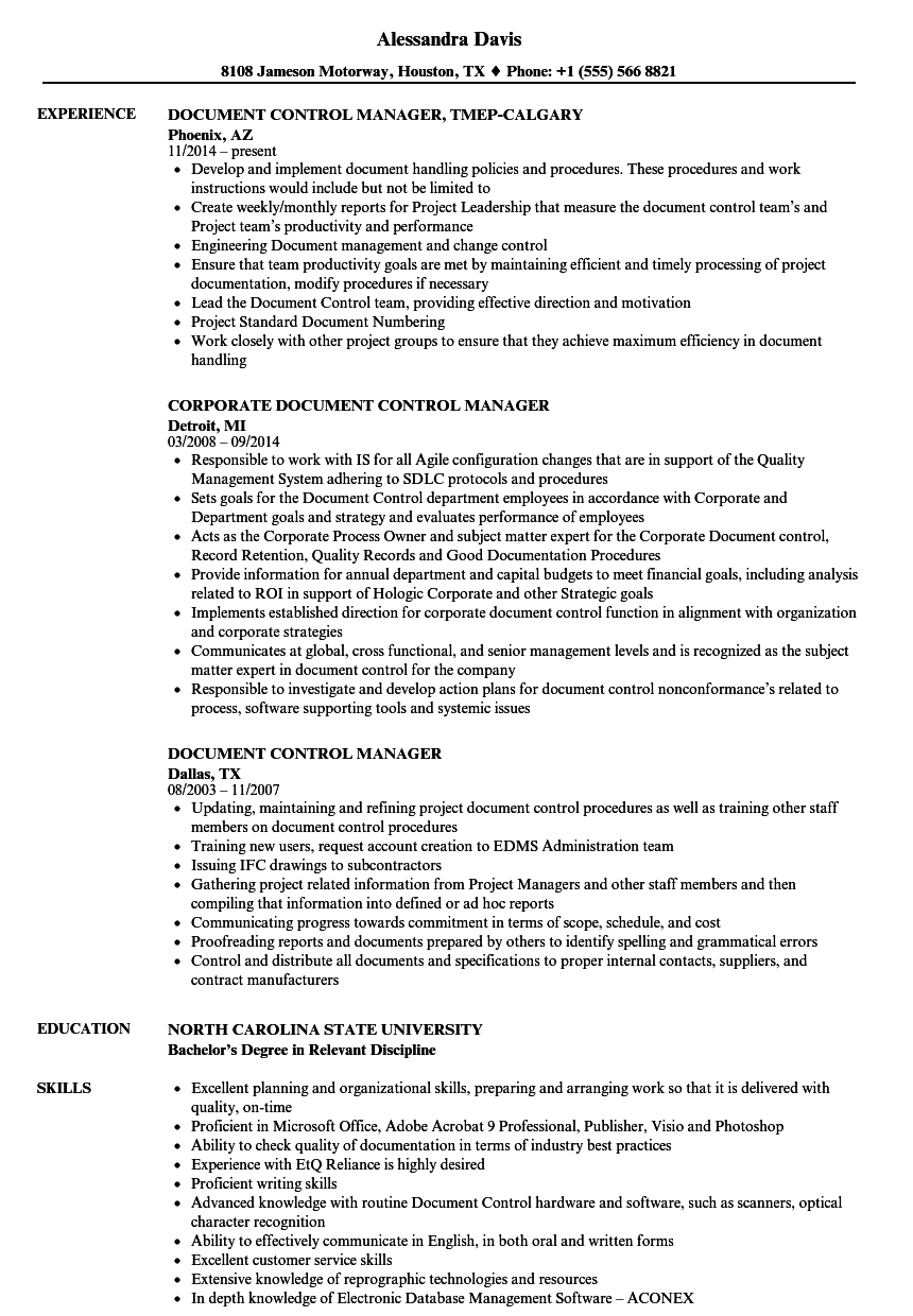 Document Control Manager Resume Samples | Velvet Jobs