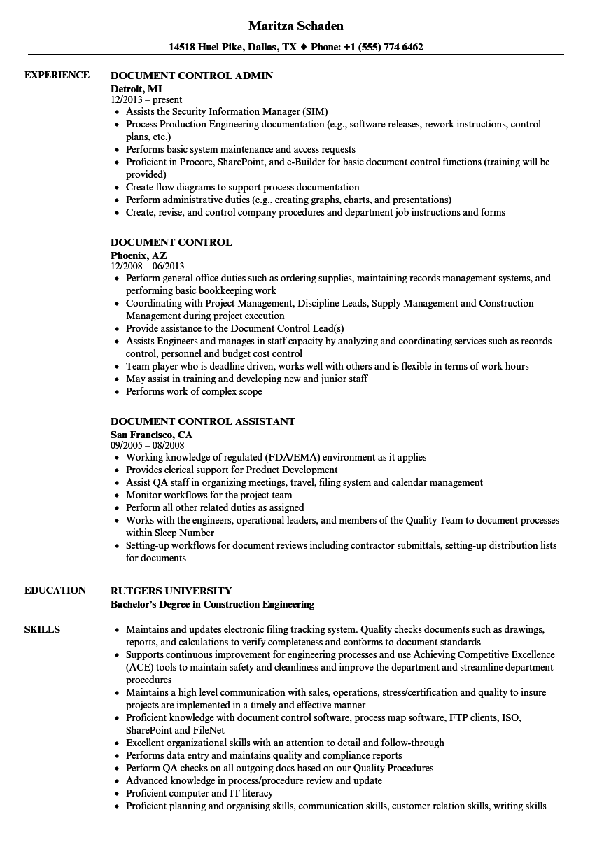 Document Control Resume Samples | Velvet Jobs