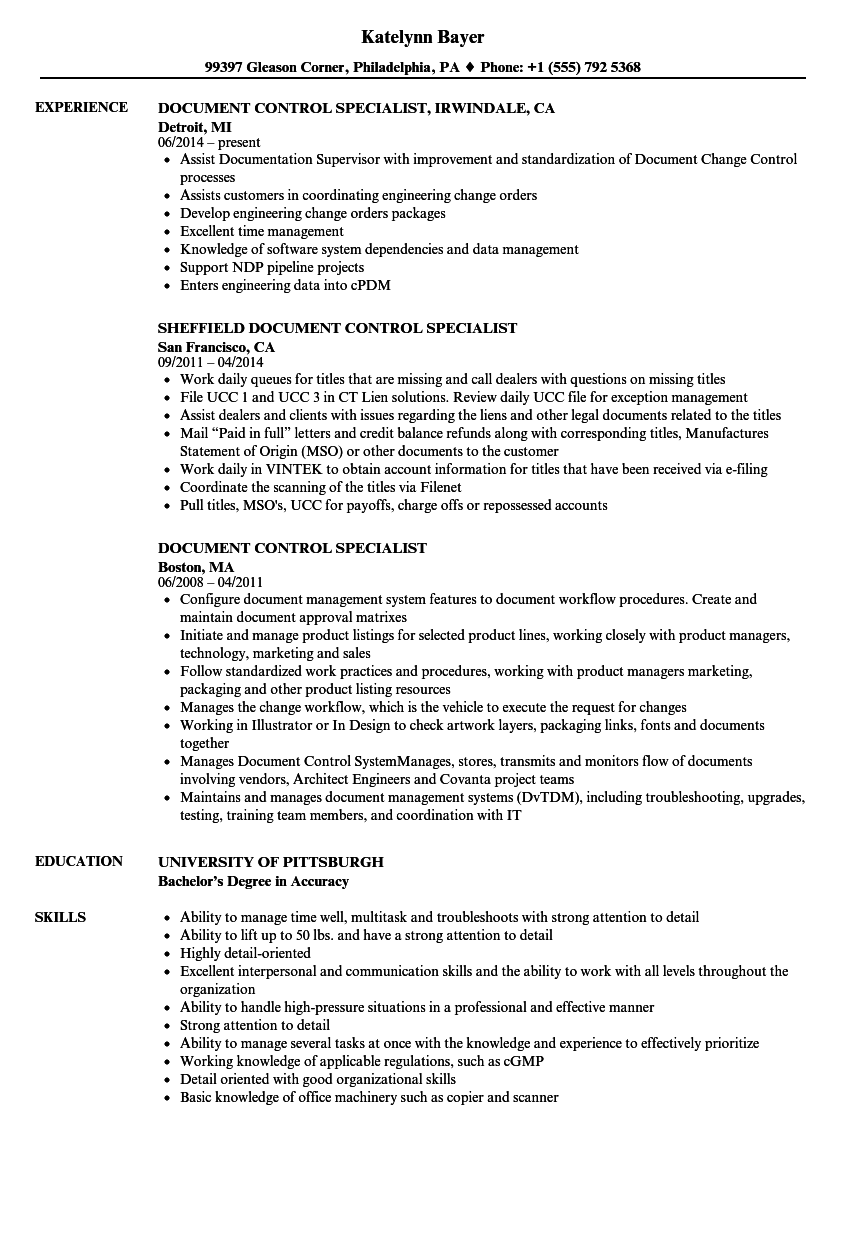Document Control Specialist Resume Samples | Velvet Jobs