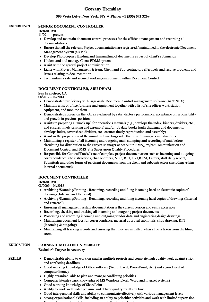 Document Controller Resume Sample As Image File