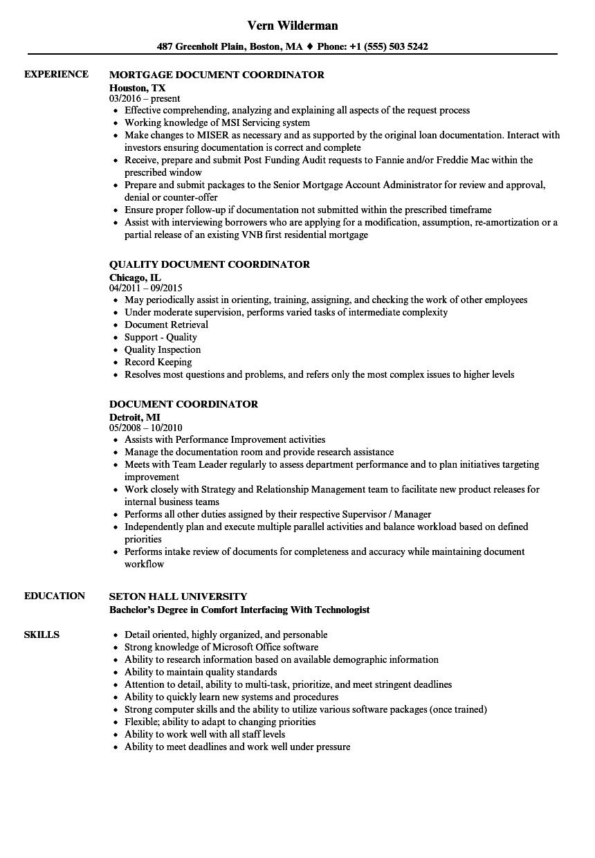 document coordinator resume samples