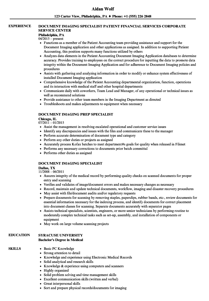 Document Imaging Specialist Resume Samples
