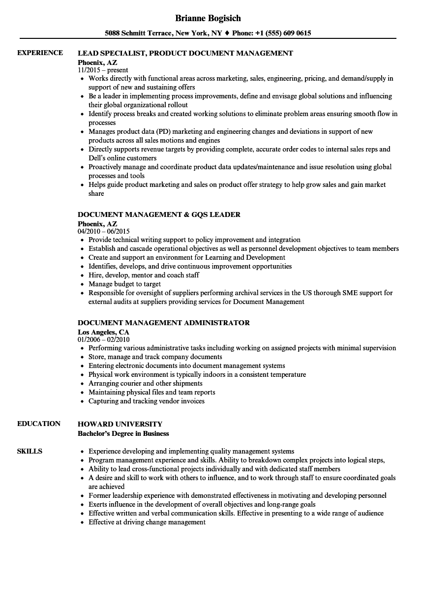 download document management resume sample as image file - Sample Administrative Management Resume
