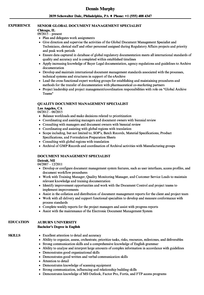 document management specialist resume samples