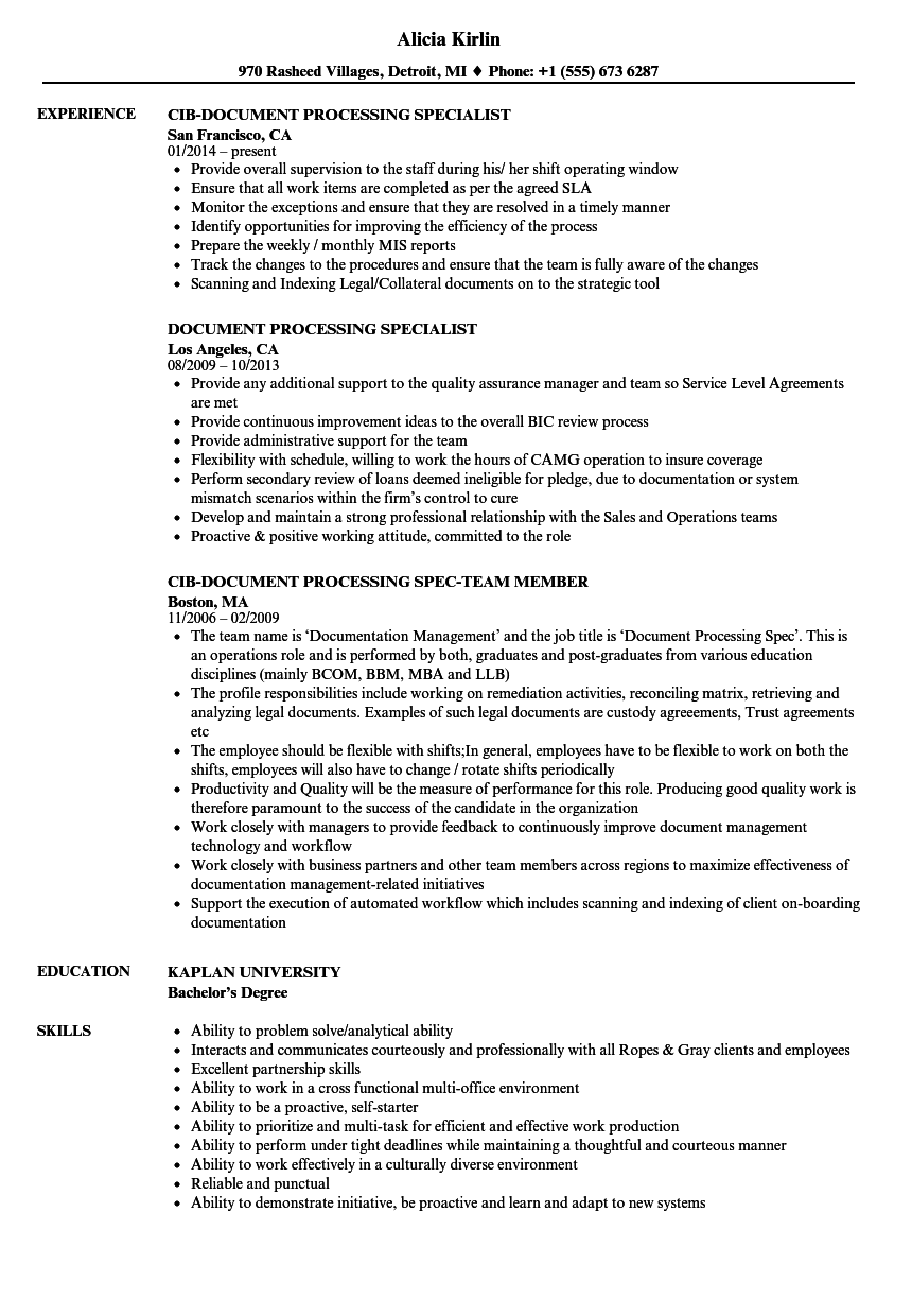 document processing resume samples