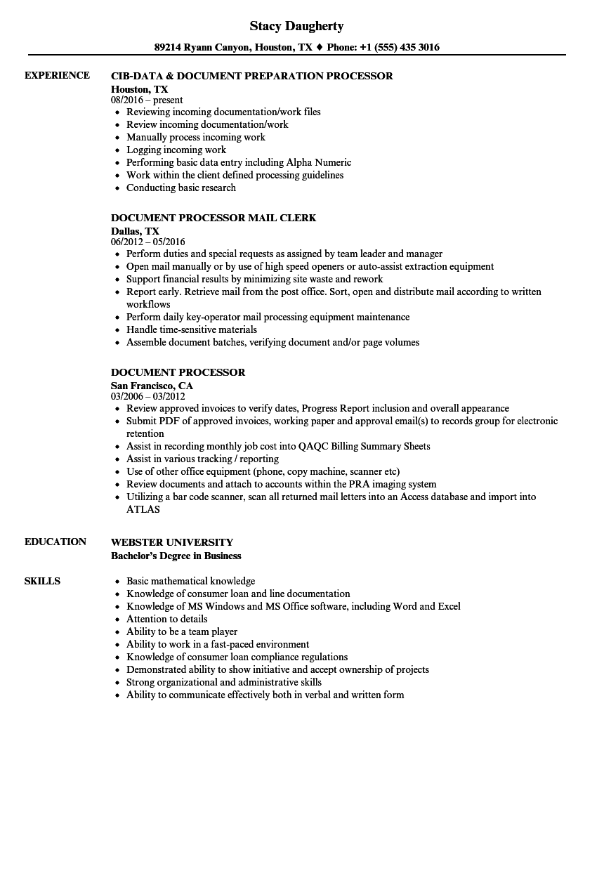 document processor resume samples