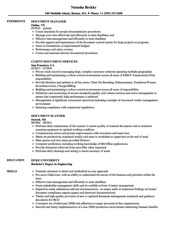 Document Resume Samples | Velvet Jobs