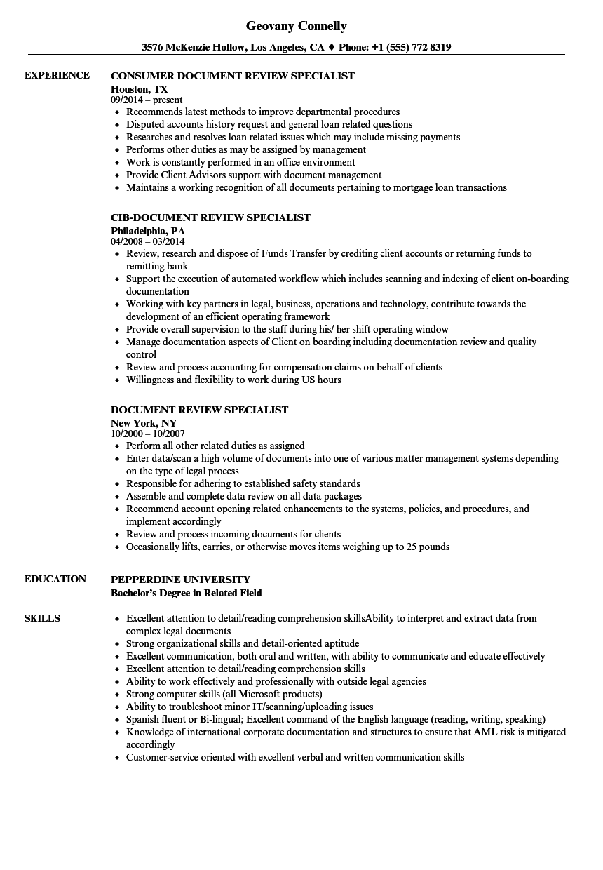 document review specialist resume samples velvet jobs