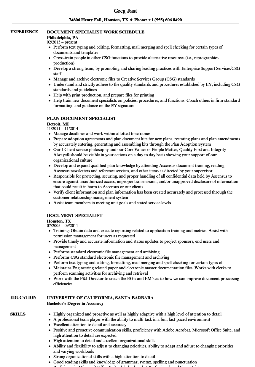 Document Specialist Resume Samples Velvet Jobs