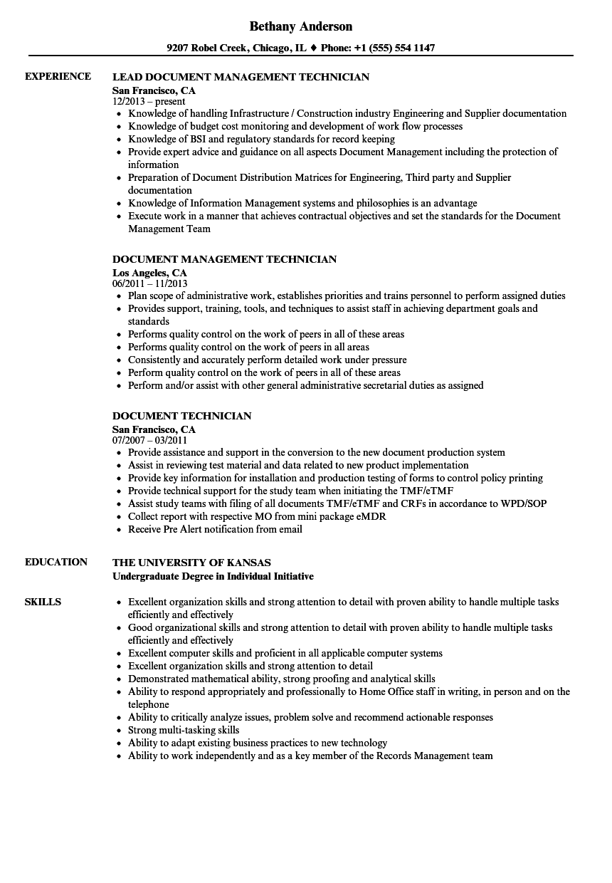 document technician resume samples