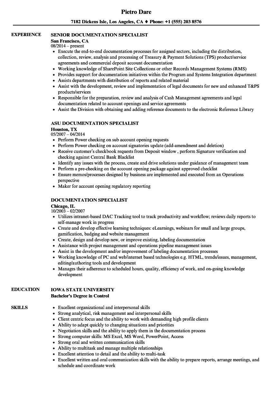 Download Documentation Specialist Resume Sample As Image File