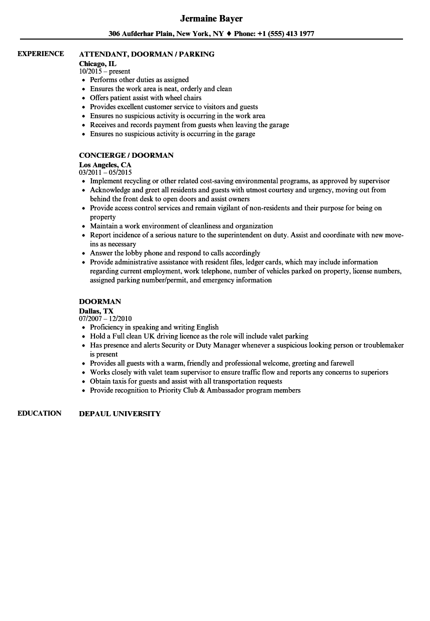 Doorman Resume Samples | Velvet Jobs