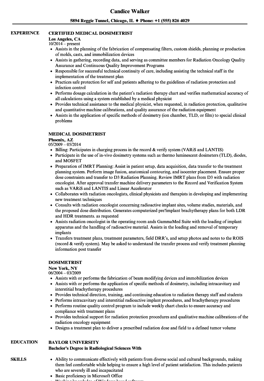 dosimetrist resume samples