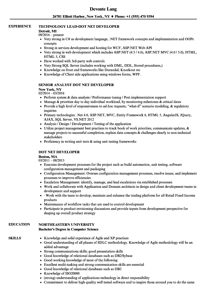Dot Net Developer Resume Samples Velvet Jobs