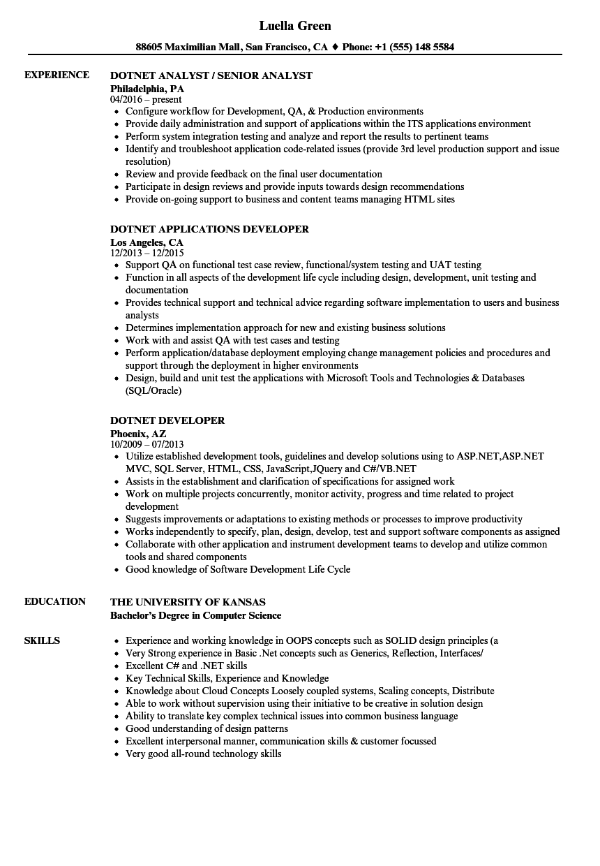 Dotnet Resume Samples Velvet Jobs