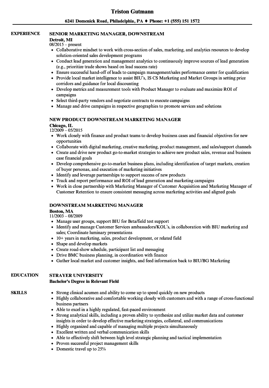 Download Downstream Marketing Manager Resume Sample As Image File  Marketing Manager Resumes