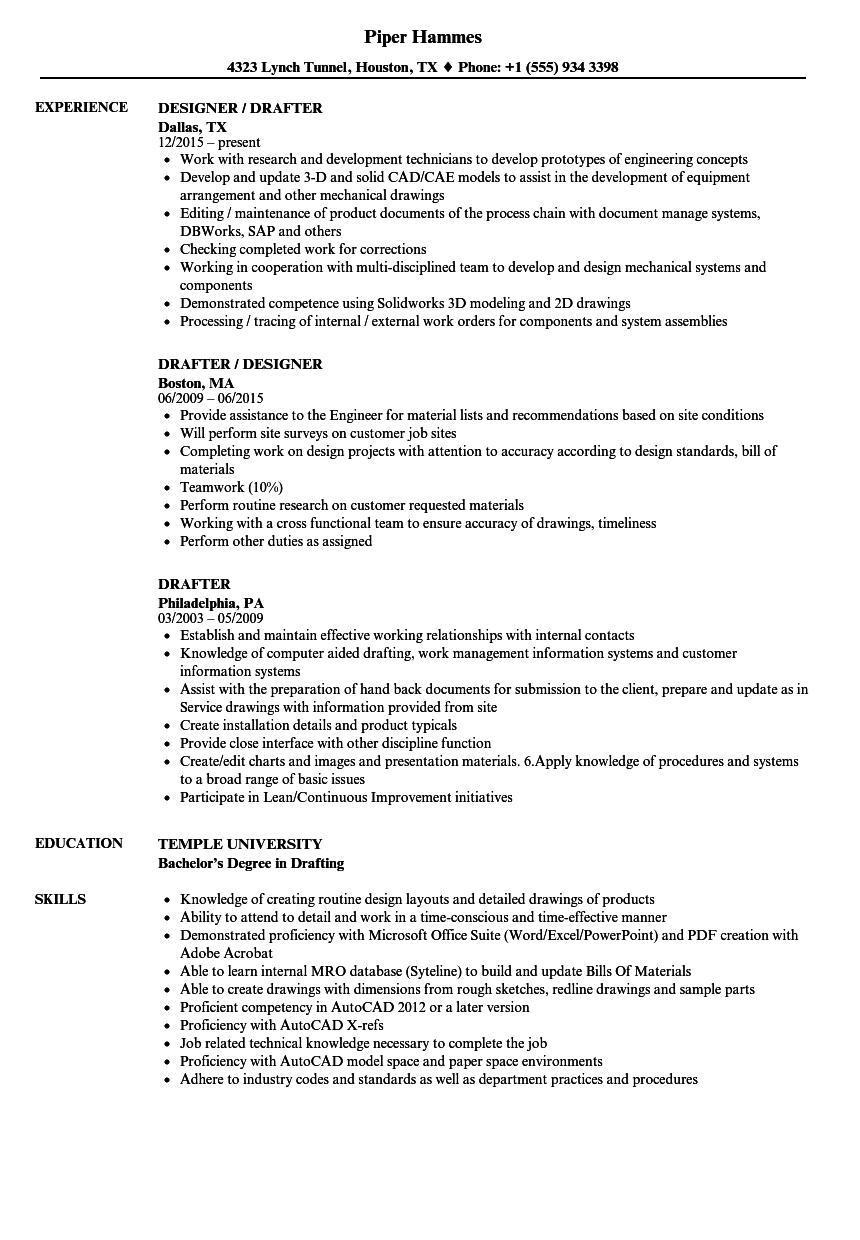 download drafter resume sample as image file - Unigraphics Designer Resume
