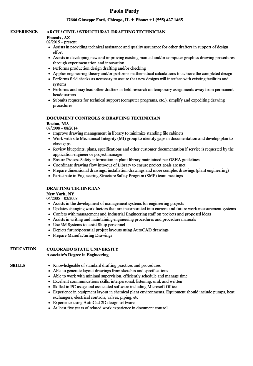 drafting technician resume samples