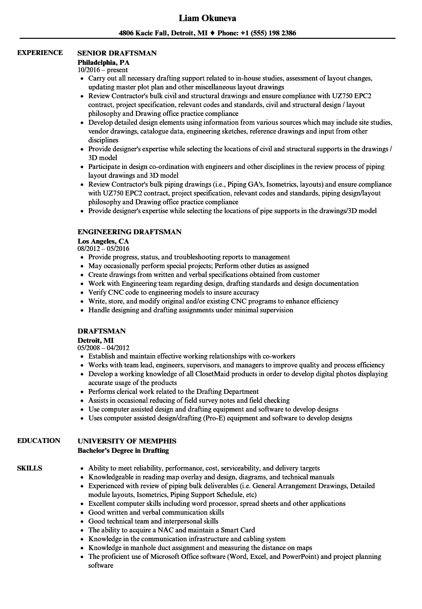draftsman resume samples