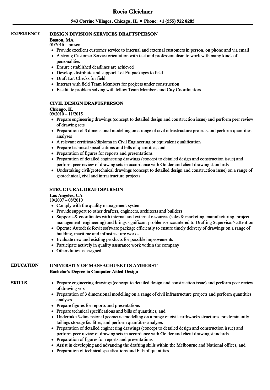 Draftsperson Resume Samples Velvet Jobs
