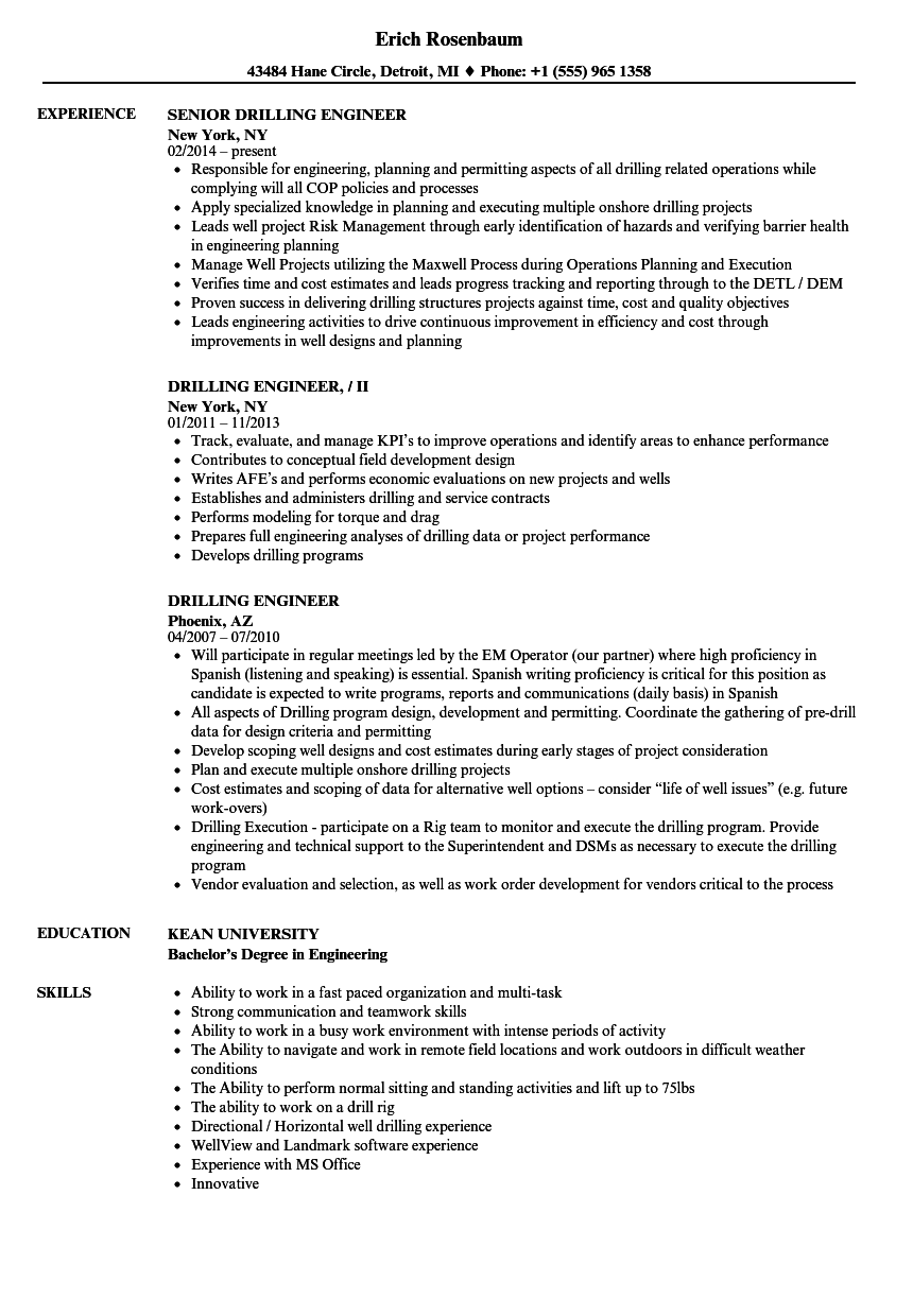 Drilling Engineer Resume Samples | Velvet Jobs