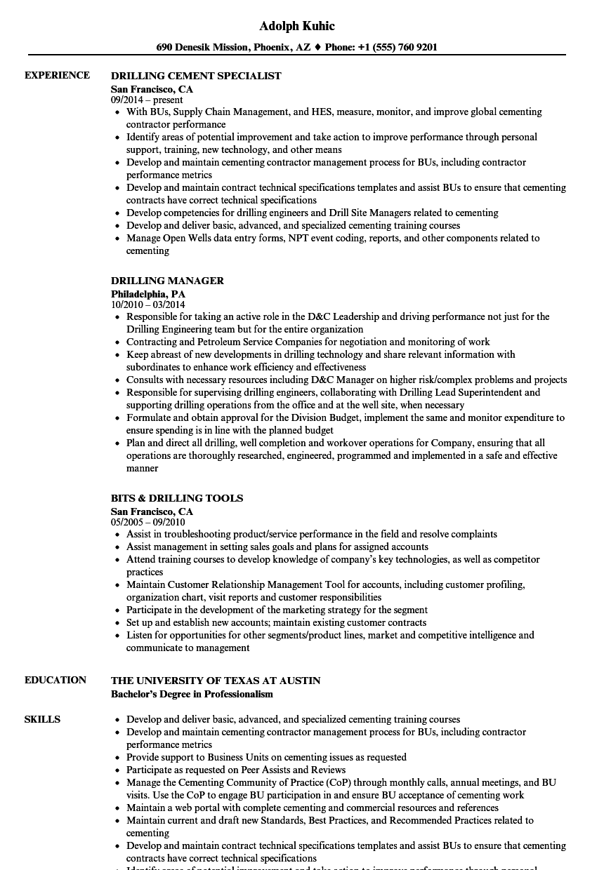 Drilling Resume Samples | Velvet Jobs