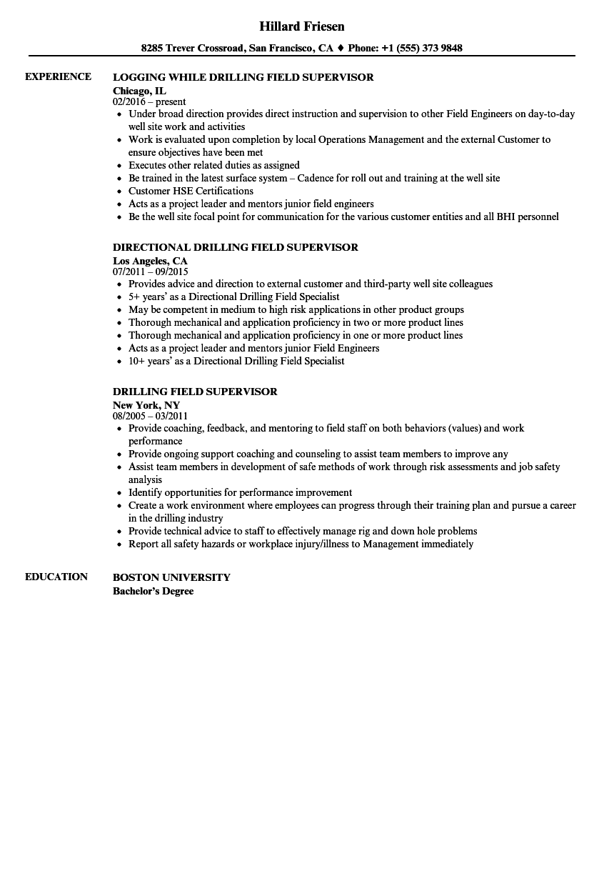 drilling supervisor resume samples