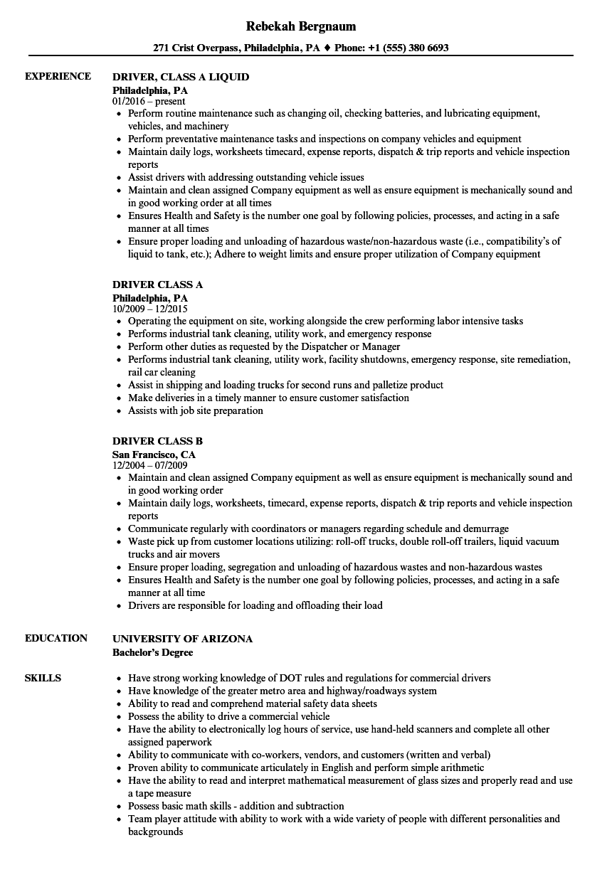 driver class resume samples