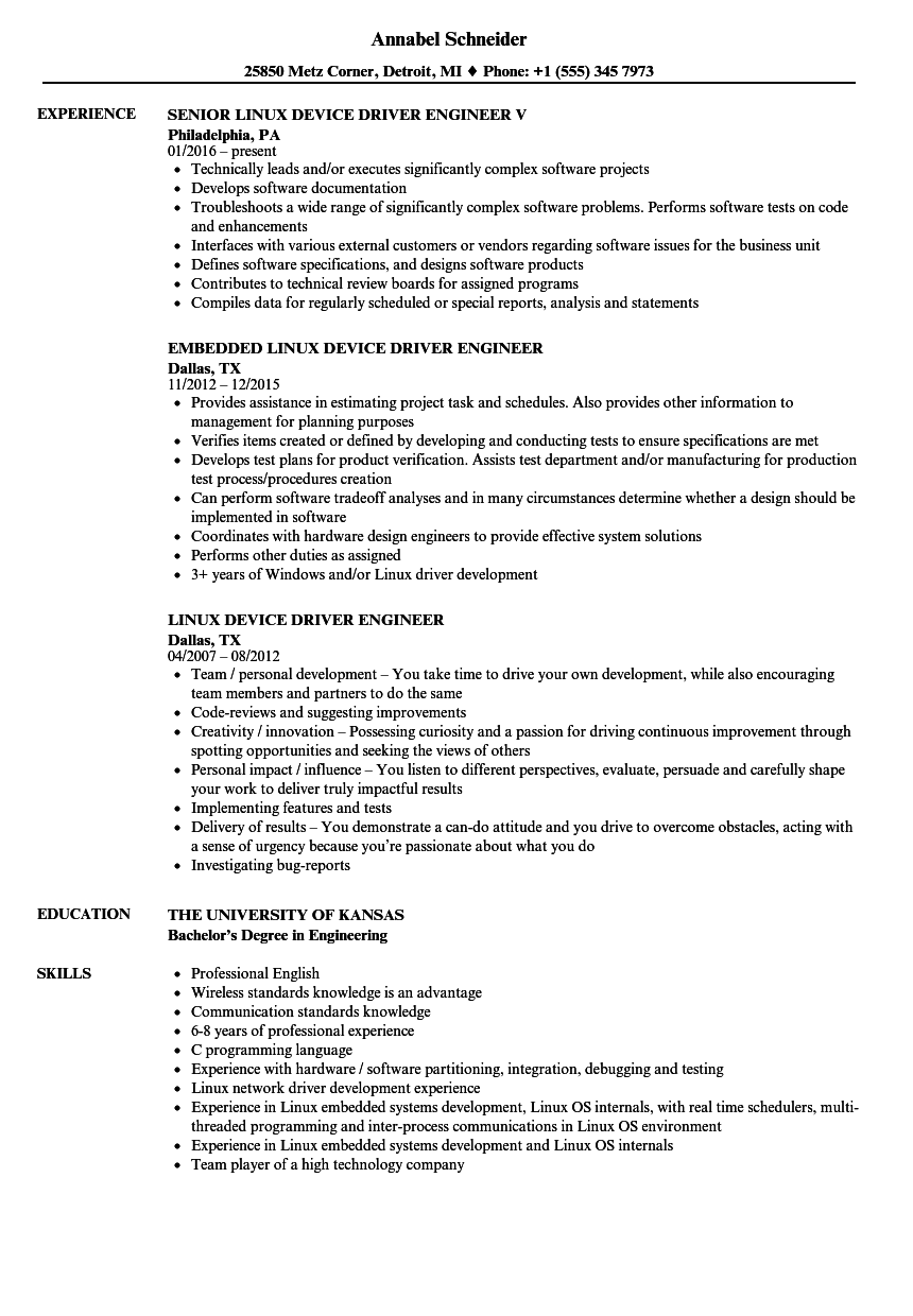 Driver Engineer Resume Samples | Velvet Jobs