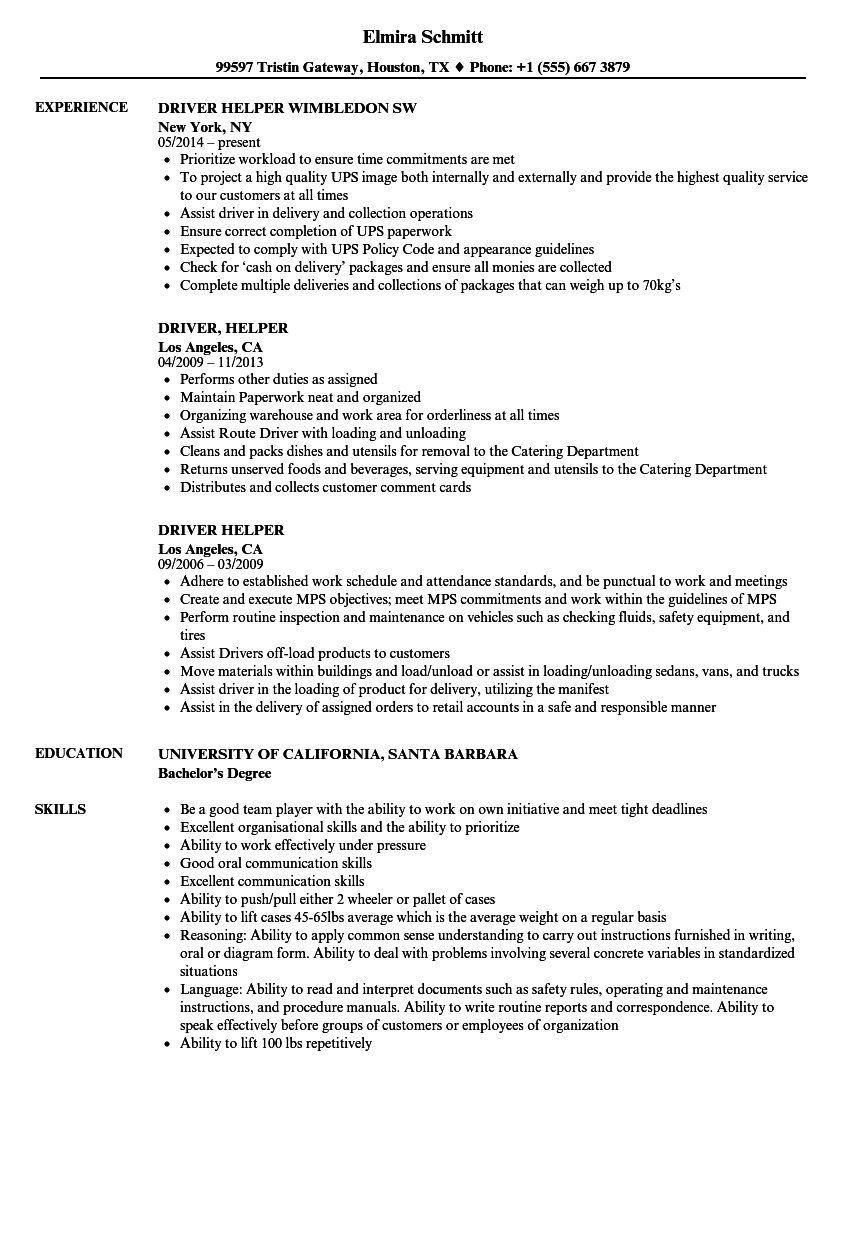Driver helper resume samples velvet jobs download driver helper resume sample as image file altavistaventures Choice Image